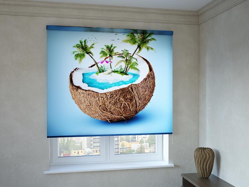 Рулонні штори з фотодруком пальми в кокосі.