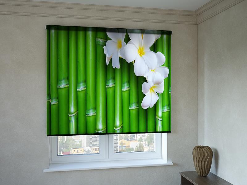 Рулонные шторы с фотопечатью орхидея на бамбуке