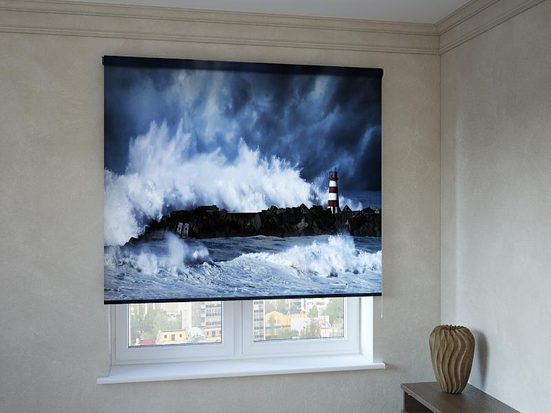 Рулонні штори з фотодруком маяк у хвилях