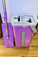 Швабра с ведром для отжима на 8 литров, ручка телескопическая