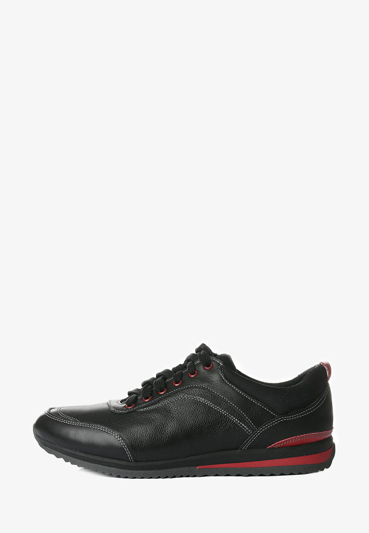 VM-Villomi Чоловічі шкіряні кросівки чорного кольору з червоними вставками
