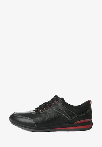 VM-Villomi Чоловічі шкіряні кросівки чорного кольору з червоними вставками, фото 2