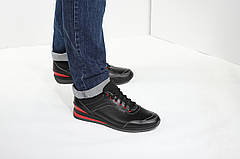 VM-Villomi Чоловічі шкіряні кросівки чорного кольору з червоними вставками, фото 3
