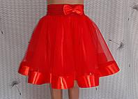 Дитяча спідничка з фатину, на резинці, червона, фото 1