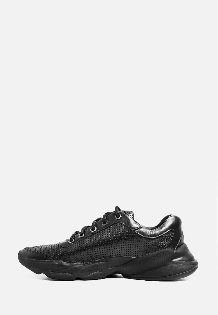 VM-Villomi Черные кожаные мужские кроссовки с перфорацией