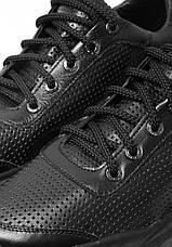 VM-Villomi Черные кожаные мужские кроссовки с перфорацией, фото 3