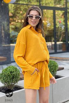 Повседневный женский комплект из рубашки с накладными карманами и шорт с 42 по 48 размер