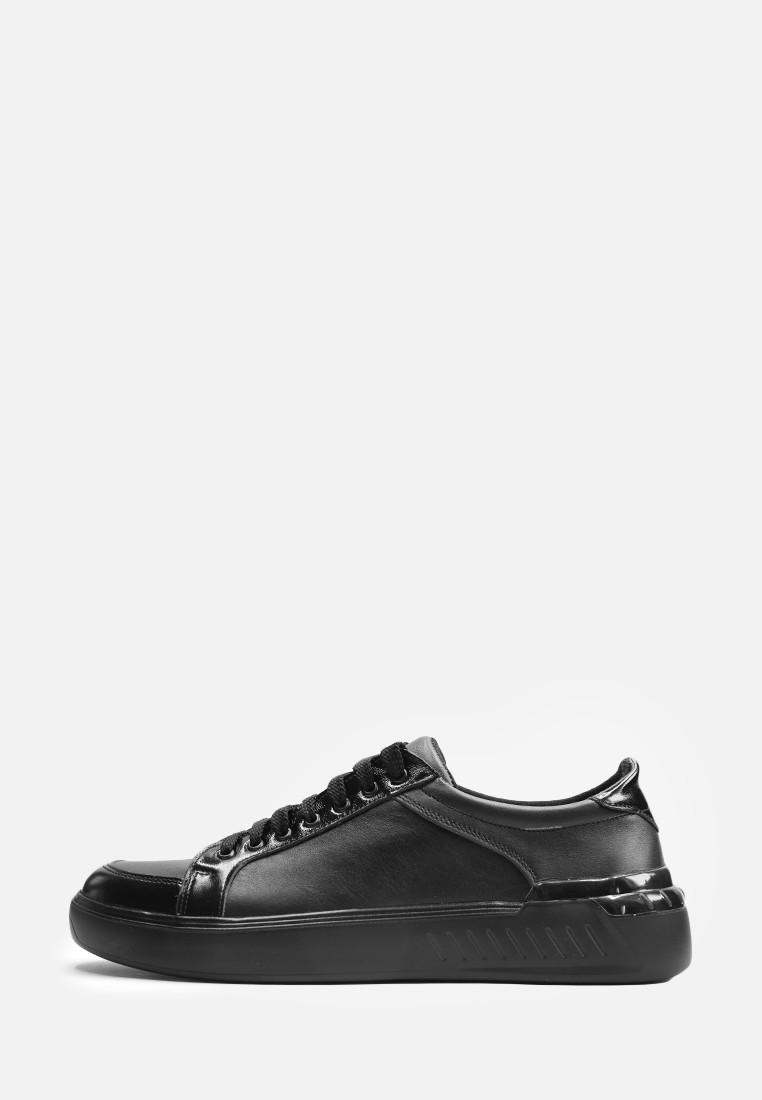 VM-Villomi Мужские черные кожаные кеды с лаковыми вставками