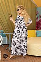 Довге штапельне сукню з горловиною на гумці і абстрактним принтом з 48 по 56 розмір, фото 5