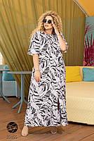 Довге штапельне сукню з горловиною на гумці і абстрактним принтом з 48 по 56 розмір, фото 3