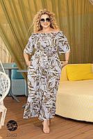 Довге штапельне сукню з горловиною на гумці і абстрактним принтом з 48 по 56 розмір, фото 2