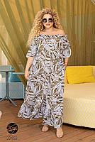 Довге штапельне сукню з горловиною на гумці і абстрактним принтом з 48 по 56 розмір, фото 4