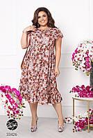 Вільний жіноче плаття в квіточку з короткими рукавами і вирізом-крапелька з 50 по 60 розмір, фото 2