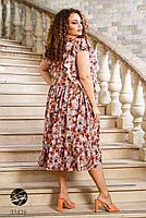 Вільний жіноче плаття в квіточку з короткими рукавами і вирізом-крапелька з 50 по 60 розмір, фото 7