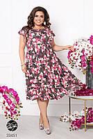 Вільний жіноче плаття в квіточку з короткими рукавами і вирізом-крапелька з 50 по 60 розмір, фото 3