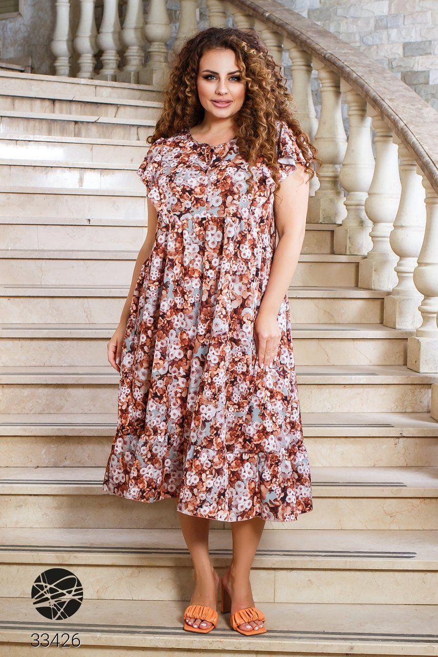 Вільний жіноче плаття в квіточку з короткими рукавами і вирізом-крапелька з 50 по 60 розмір