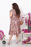 Вільний жіноче плаття в квіточку з короткими рукавами і вирізом-крапелька з 50 по 60 розмір, фото 4