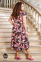 Вільний жіноче плаття в квіточку з короткими рукавами і вирізом-крапелька з 50 по 60 розмір, фото 5