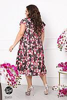 Вільний жіноче плаття в квіточку з короткими рукавами і вирізом-крапелька з 50 по 60 розмір, фото 8