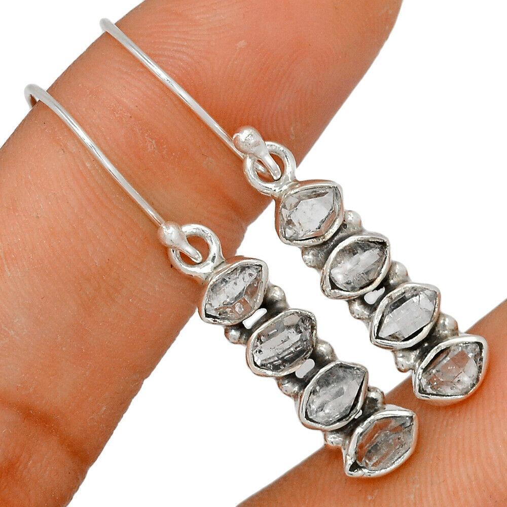 Херкимерский (Херкаймерийский) алмаз серебряные серьги, 654СРХ