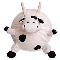 М'яч стрибунець з ріжками Корова 45 см біло-чорний Мяч попрыгун с рожками Корова, фото 1
