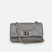 Жіноча сумка класична шкіряна маленька сіра A0027