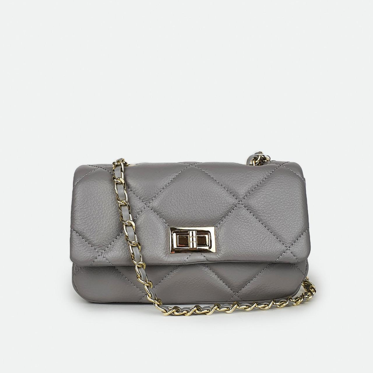 Женская сумка классическая кожаная маленькая серая A0027