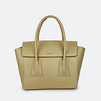 Желтая женская сумка большая кожаная каркасная 6695