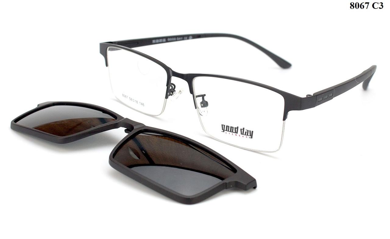 Мужские очки с съемной насадкой на ШИРОКОЕ лицо (можно по рецепту)