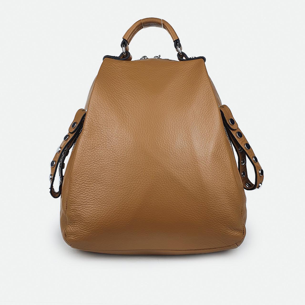 Рюкзак жіночий з натуральної шкіри світло-коричневий H811
