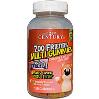 Детские поливитамины, 21st Century Health Care, 150 жевательных мишек Zoo Friends Multi Gummies