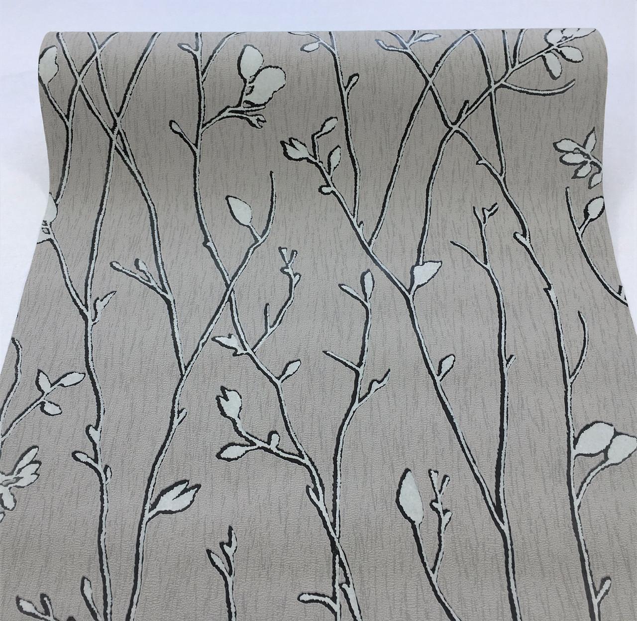 Сірі німецькі вінілові шпалери 294227, з візерунком листя і стебел рослин, тиснені під витонченого короїда