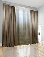 Комплект Декор-Ін Флора Штори + Тюль Градієнт Світло-коричневий, фото 1