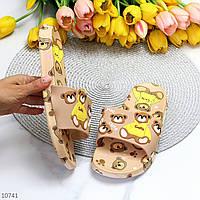 Очаровательные резиновые силиконовые бежевые женские шлепки шлепанцы с мишками Тедди 37-22см, фото 1