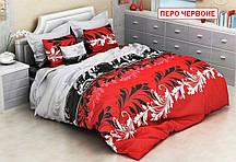 Полуторний комплект постільної білизни - Перо червоне