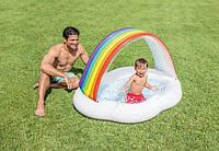Детский бассейн с навесом Радуга, бассейны детские надувные с крышей, Intex