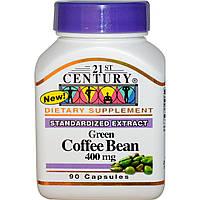 Зеленый кофе для похудения, 400 мг, 21st Century Health Care, 90 капсул