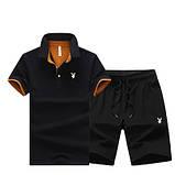 PLAYBOY original хлопок летний комплект шорты + футболка поло плейбой, фото 3