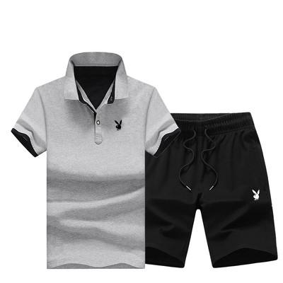 PLAYBOY original хлопок летний комплект шорты + футболка поло плейбой