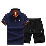 PLAYBOY original хлопок летний комплект шорты + футболка поло плейбой, фото 5