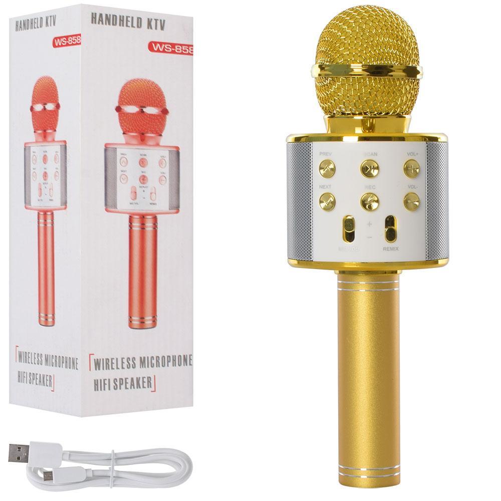 Микрофон беспроводный для караоке Bluetooth WS858-gold HQ 23см