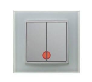 Выключатель 2-клавишный с подсветкой Berker B.7 полярная белизна/стекло, фото 2