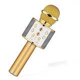 Микрофон беспроводный для караоке Bluetooth WS858-gold HQ 23см, фото 3