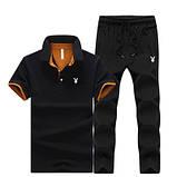 PLAYBOY original бавовна річний комплект футболка поло + штани плейбой, фото 4
