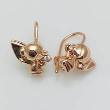 Серьги детские позолота, мед золото, 82202740-01 H-15 мм B-11 мм ювелирная бижутерия Fallon Jewelry