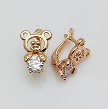 Серьги детские позолота, мед золото, 82202757-01 H-14 мм B-11 мм ювелирная бижутерия Fallon Jewelry