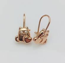 Серьги детские позолота, мед золото, 82202741-01 H-15 мм B-9 мм ювелирная бижутерия Fallon Jewelry