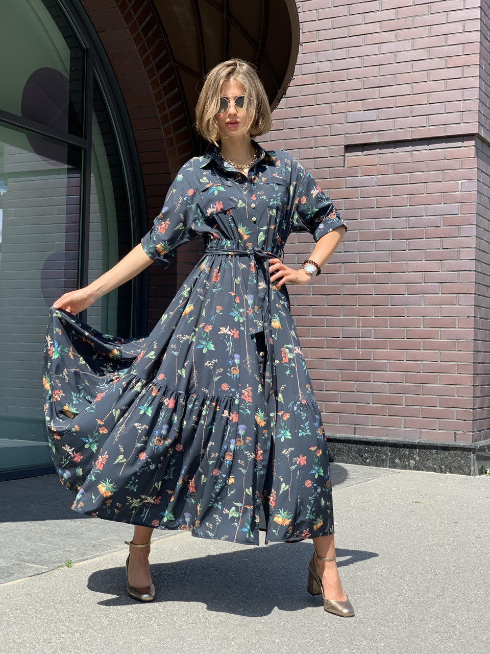 Сукня жіноча чорне з принтом Sonya Scandal MKSS220420