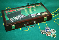 """Гра Покер  300 жетонів з номіналом у дерев""""яній валізі HQ Poker, фото 1"""