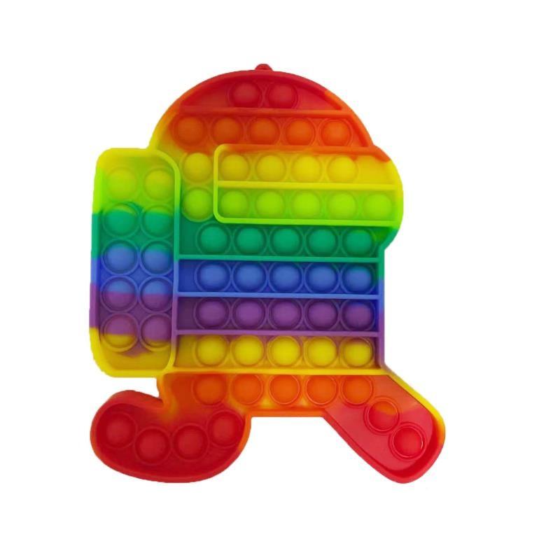 Антистресс сенсорная игрушка Pop It Большой Амонг Ас Бег (20х20 см) Радужный